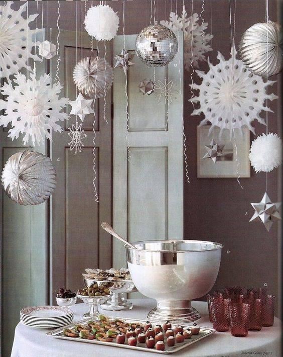 decoração de ano novo mesa de ponche