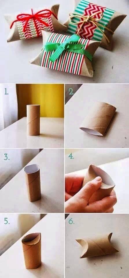 enfeite de natal reciclado caixinhas de presente com rolo de papel