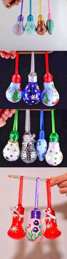 enfeite de natal reciclado lampadas pintadas