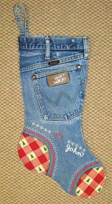 enfeite de natal reciclado meia com jeans antigo