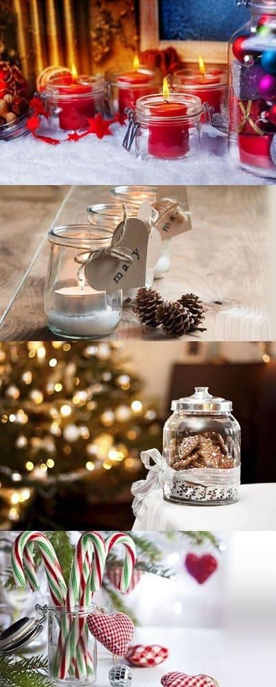 enfeite de natal reciclado potes de vidro com velas