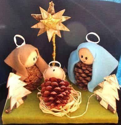 enfeite de natal reciclado presepio com pinhas