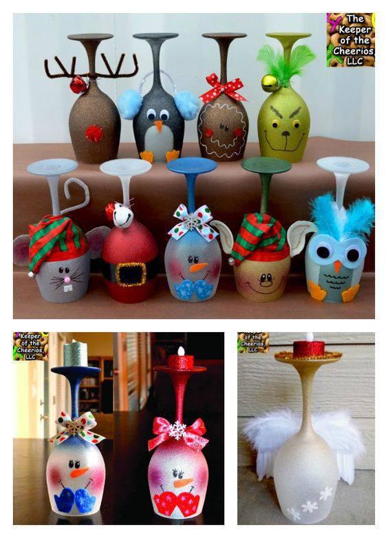 enfeite de natal reciclado taças pintadas com velas