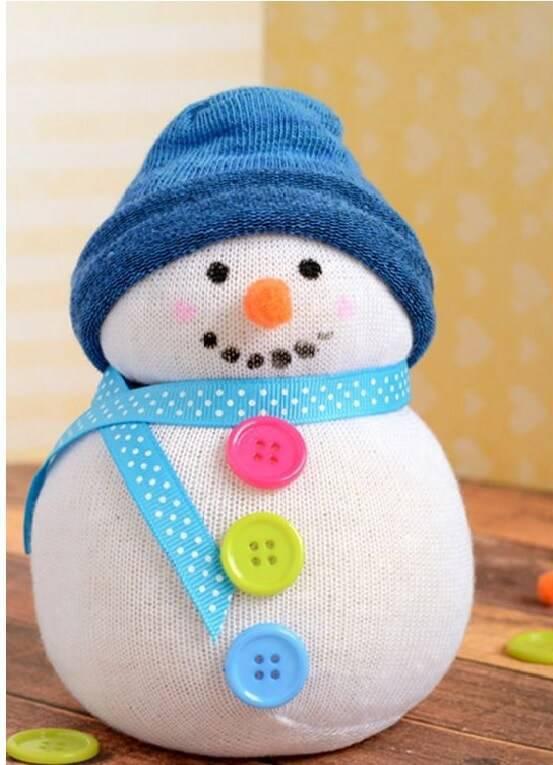 lembrancinha de natal boneco de neve com meia