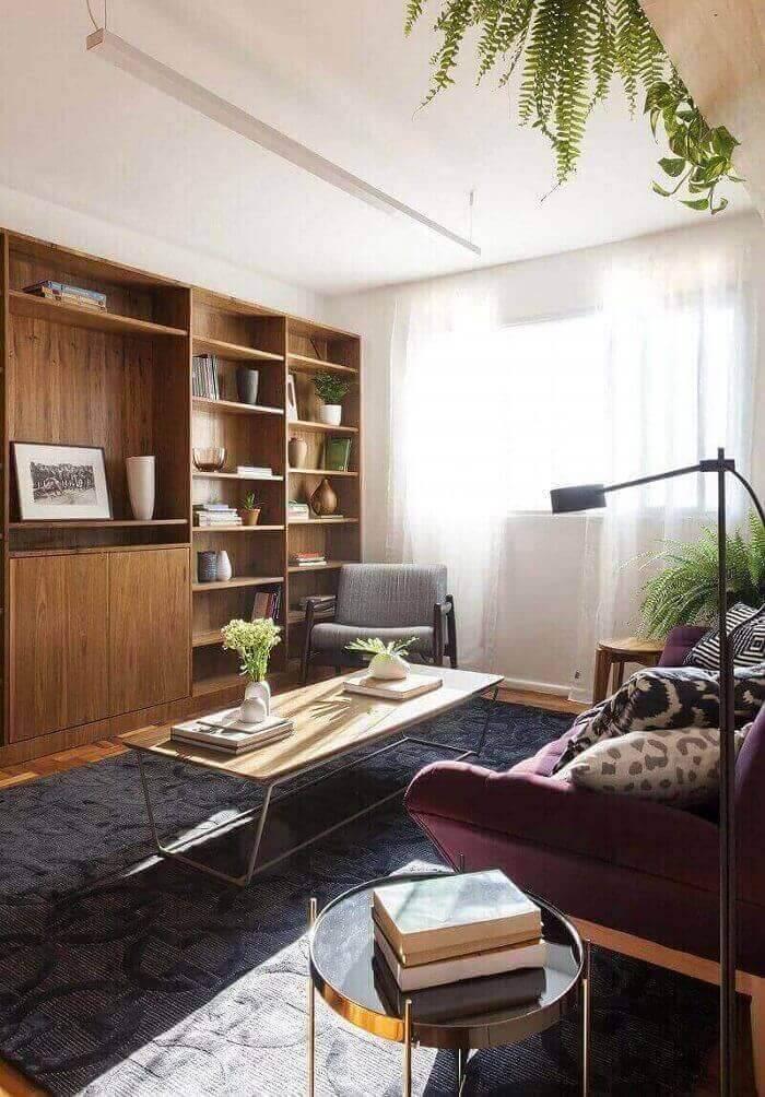 luminárias para sala com abajur cinza e moderno projeto de INÁ Arquitetura