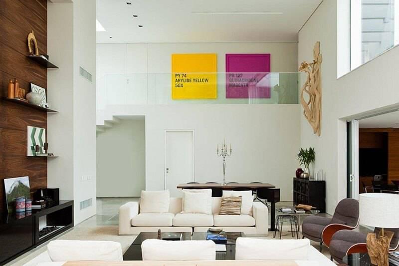 luminárias para sala com abajur rústico projeto de Vanessa Féres