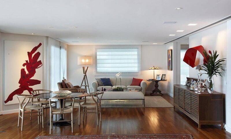 luminárias para sala com estilos diferentes projeto de Escala Arquitetura