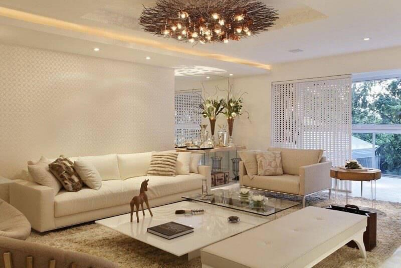 luminárias para sala com lustre moderno projeto de ana meirelles