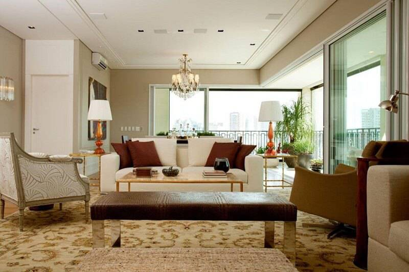 luminarias para sala com tons dourados projeto leonardo junqueira