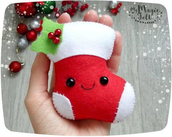 meia de feltro de lembrancinha de natal