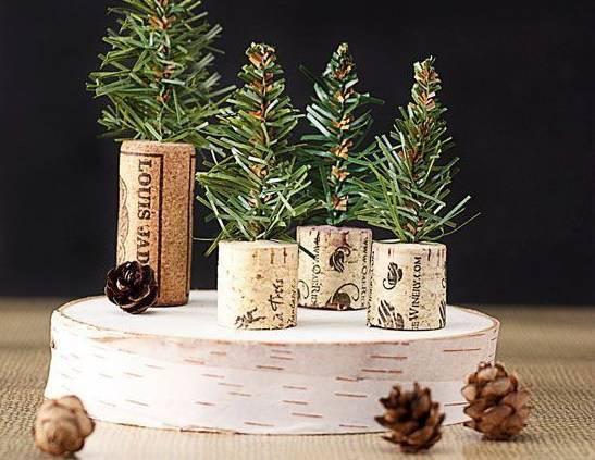 mini pinheiro com rolha lembrancinha de natal