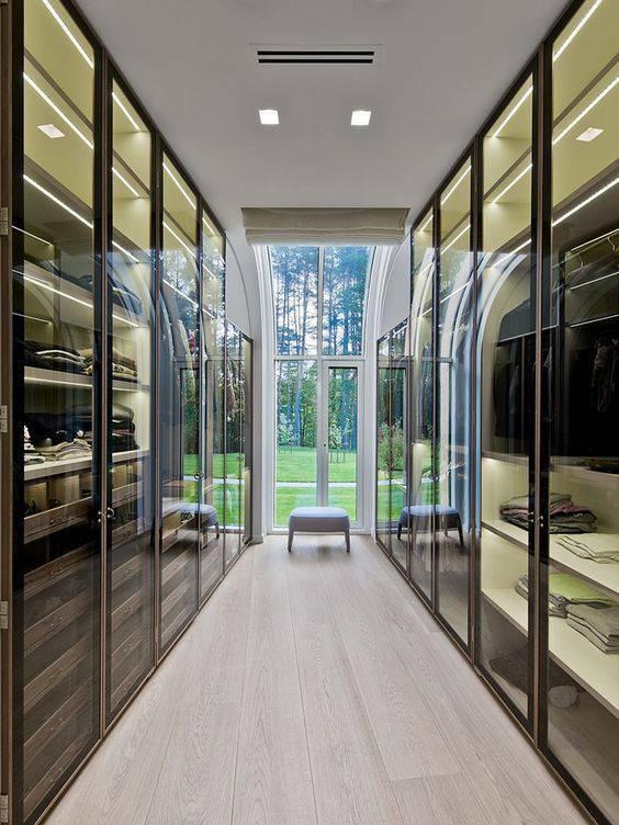 porta de vidro closet completo semi espelhado