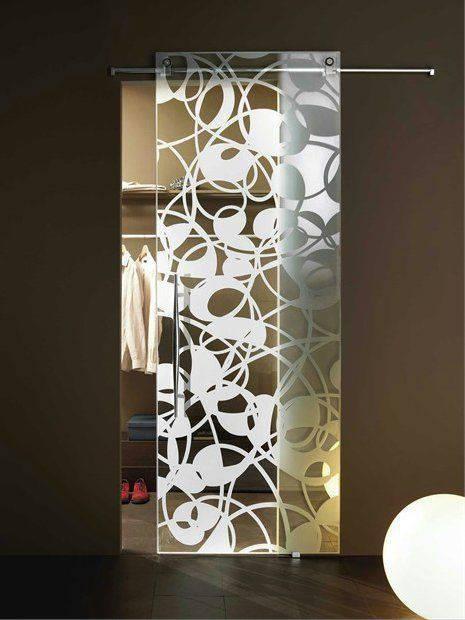 porta de vidro desenhada closet
