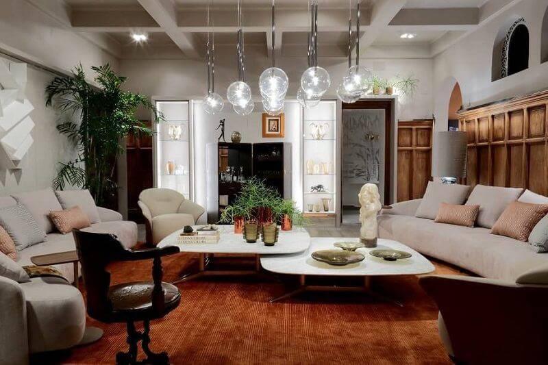 sala planejada com lustre de bolhas