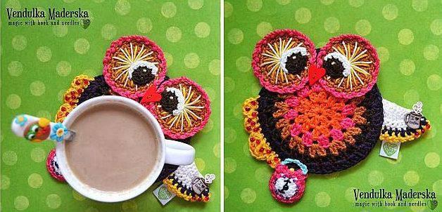 sousplat coruja de croche owl coaster