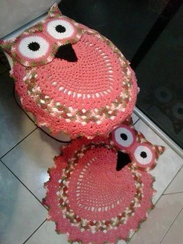 tapete de banheiro ros Coruja de Crochê