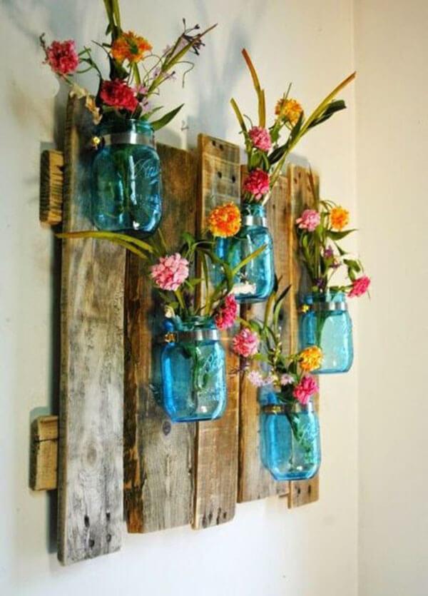 Artesanato em madeira enfeite de com vasinhos