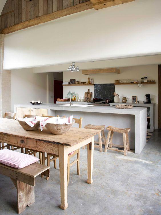 Cozinha com cimento queimado
