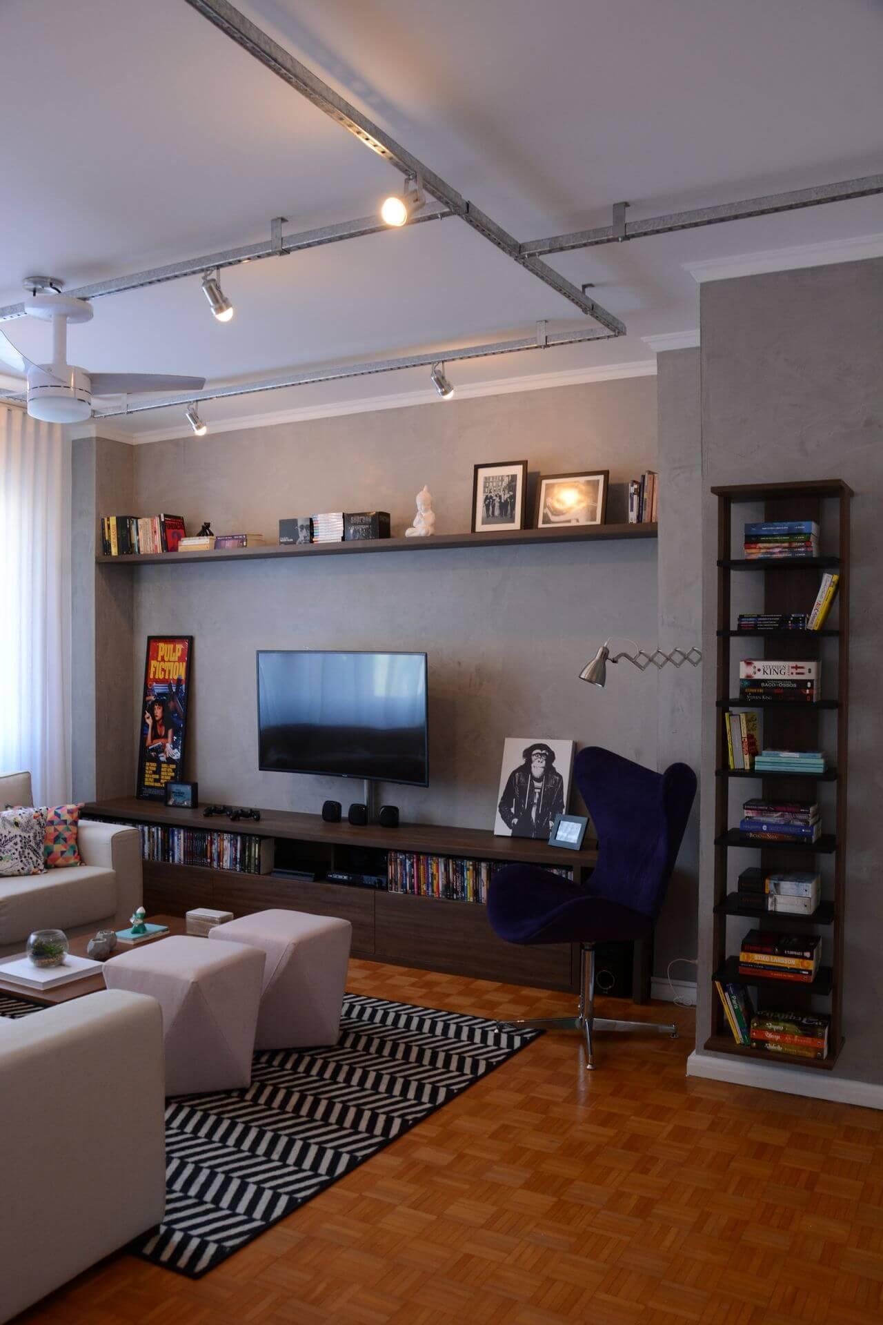 Decoração com tapetes para sala de estar geométrico Projeto de Nathalia Bilibio