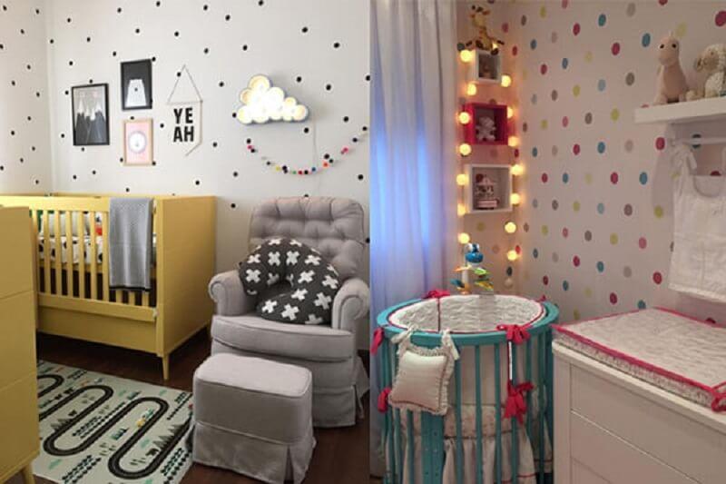 Decoração de quarto de bebê colorida e personalizada