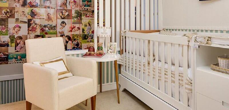 Decoração de quarto de bebê com parede de fotos