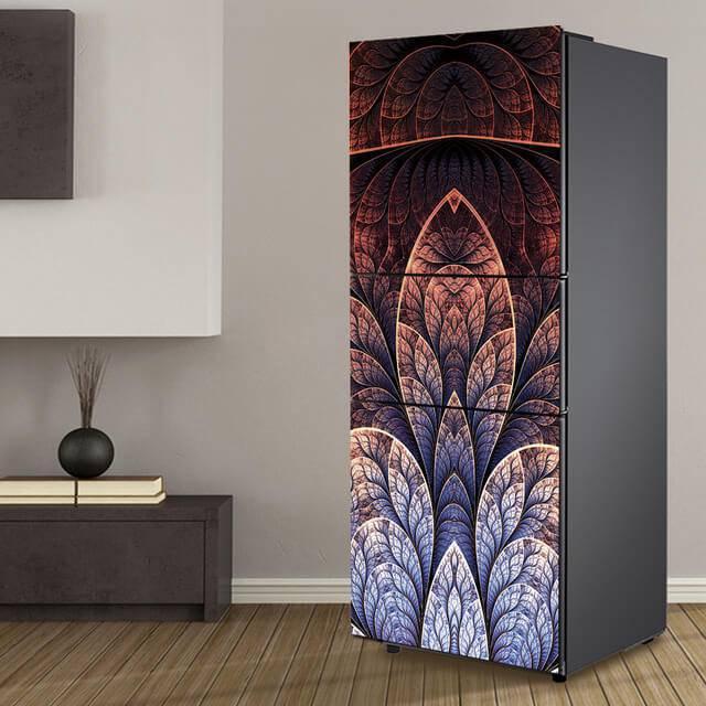 Envelopamento de geladeira com estampa artística em degradê