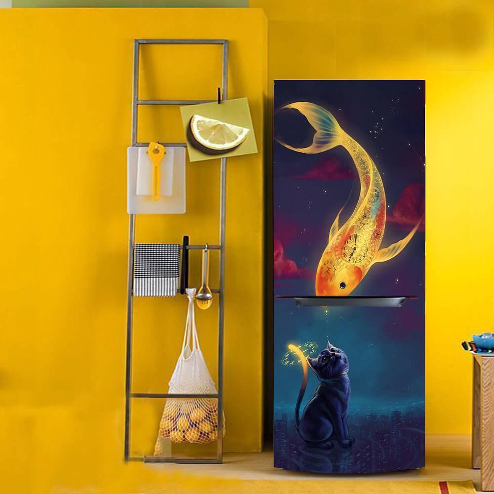 Envelopamento de geladeira com estampa artística