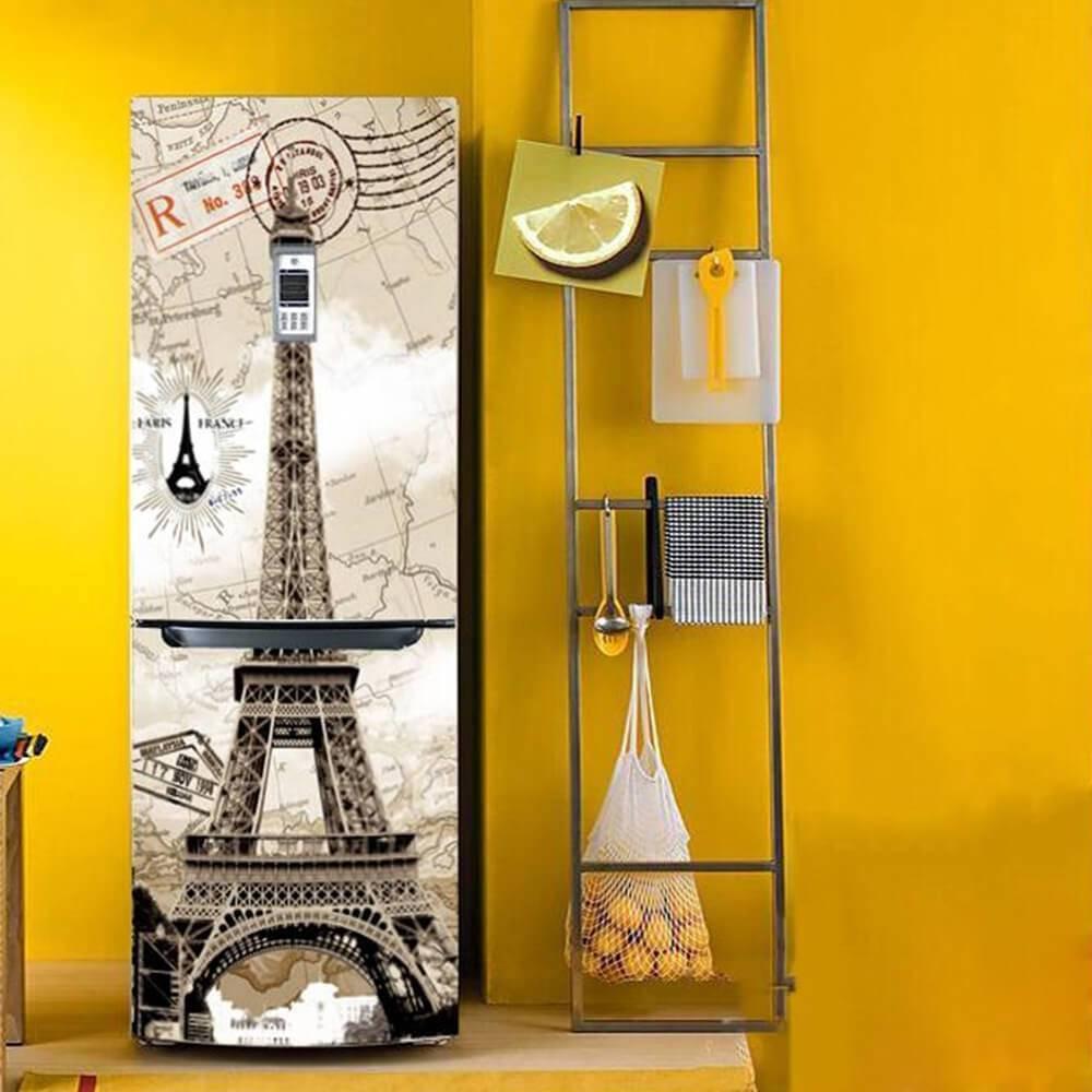 Envelopamento de geladeira com estampa da Torre Eiffel