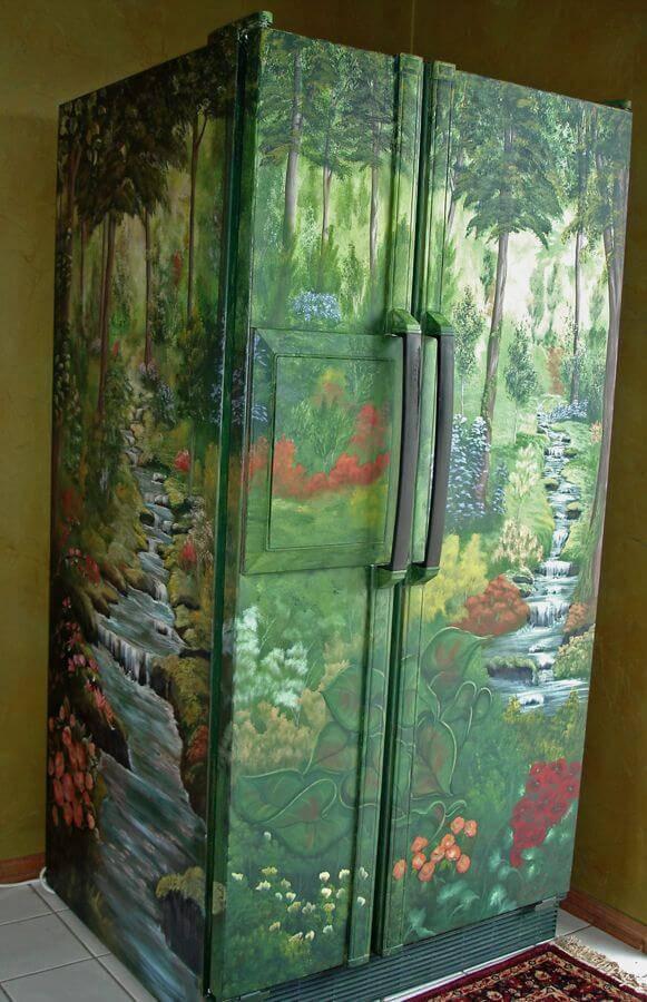 Envelopamento de geladeira de paisagem natural