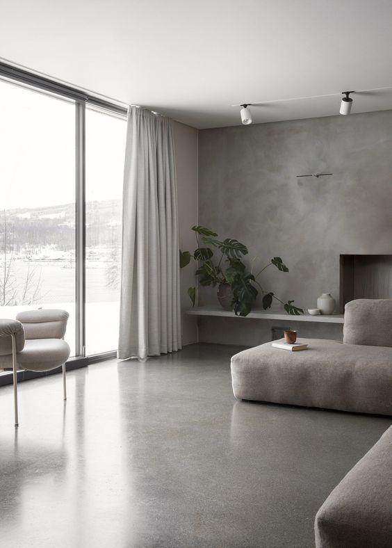 Piso de cimento queimado na casa cinza
