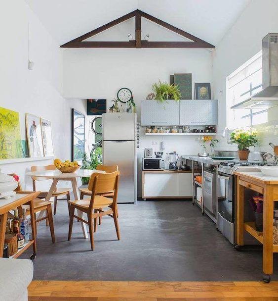 Piso de cimento queimado para cozinha moderna