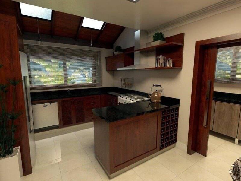 Prateleira de cozinha em mogno projeto de edinilson hinkel