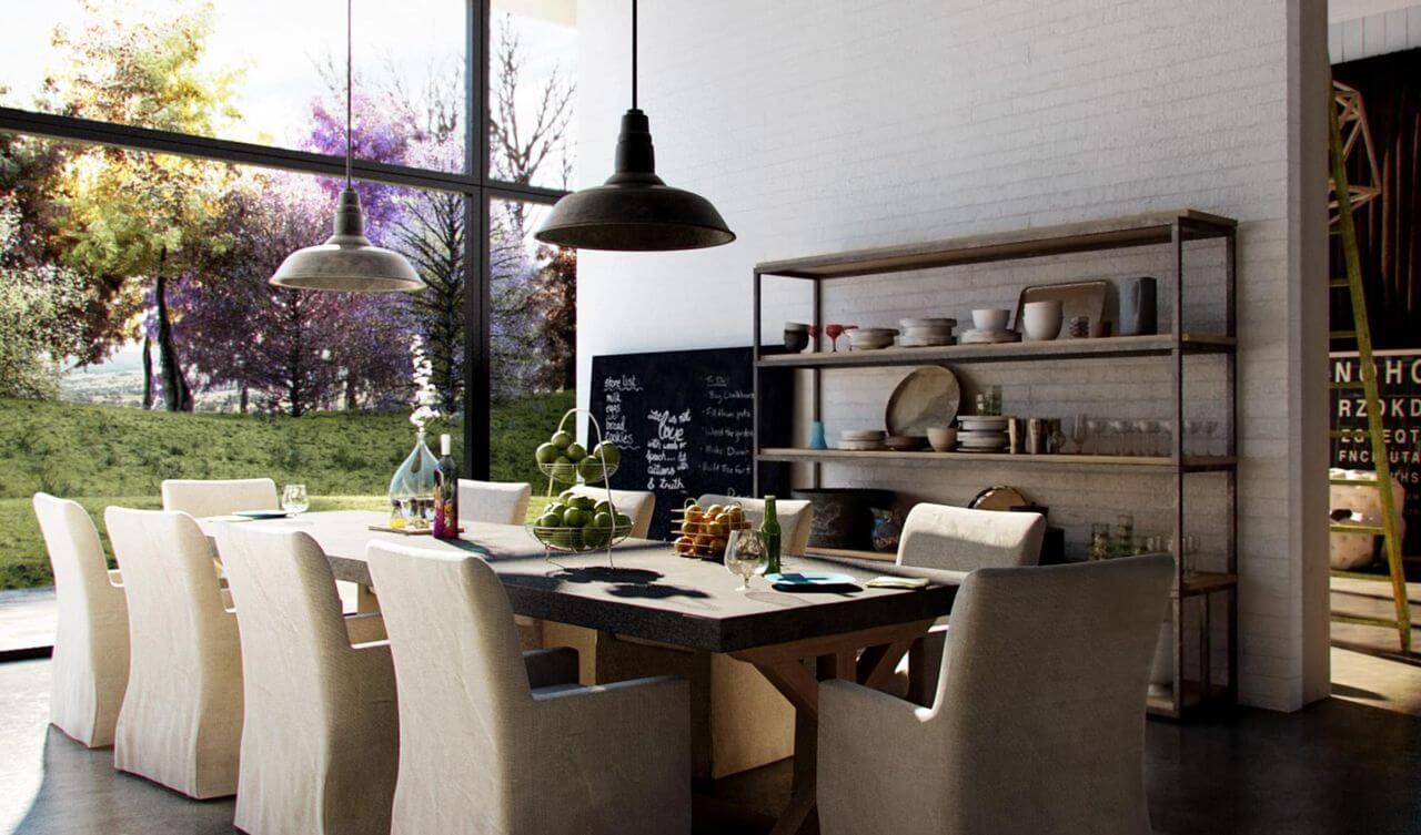 Sala de jantar com poltronas no lugar de cadeiras e estante estilo industrial Projeto de Thi Lima
