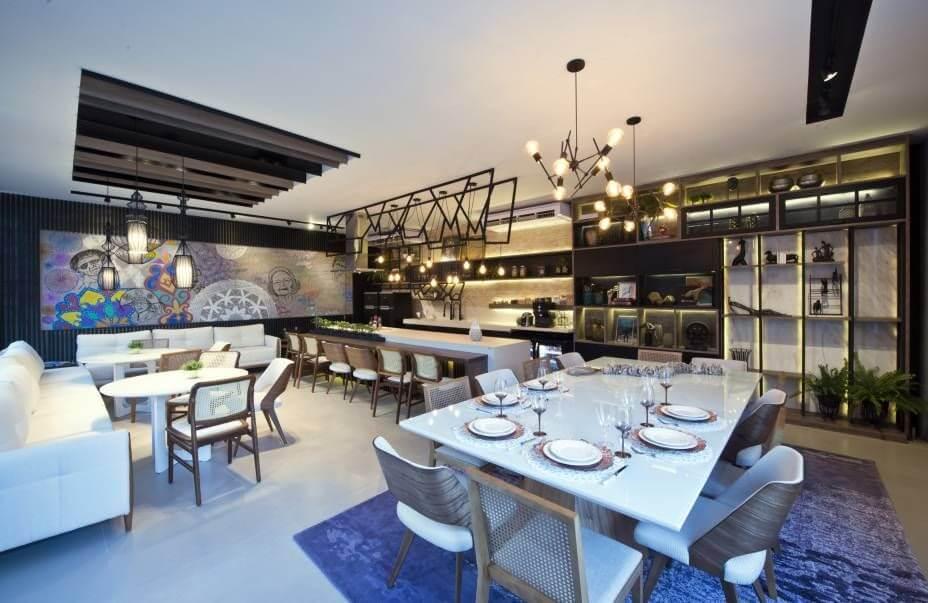 Sala de jantar grande com vários ambientes Projeto de Casa Cor Ceará 17