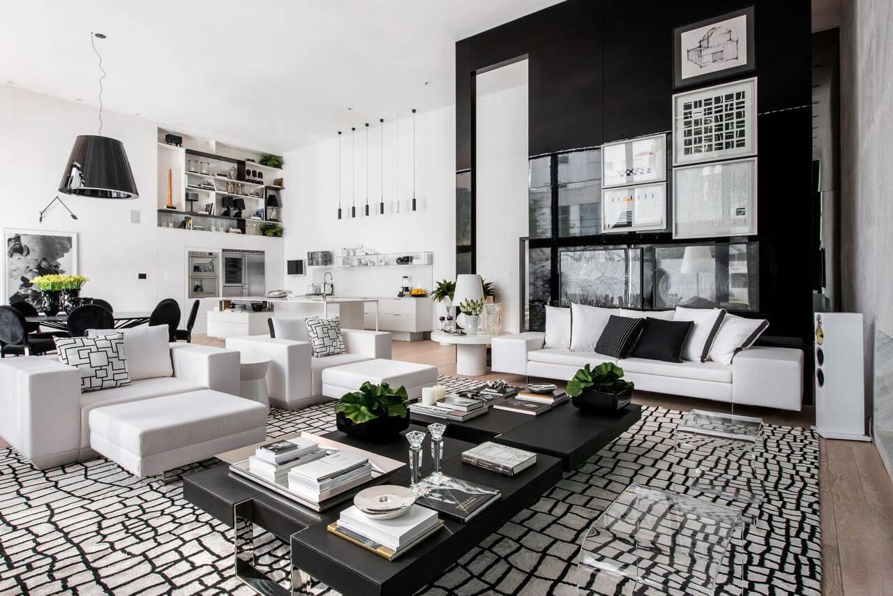 Tapetes para sala geométrico em sala toda decorada no preto e branco Projeto de Lidia Maciel