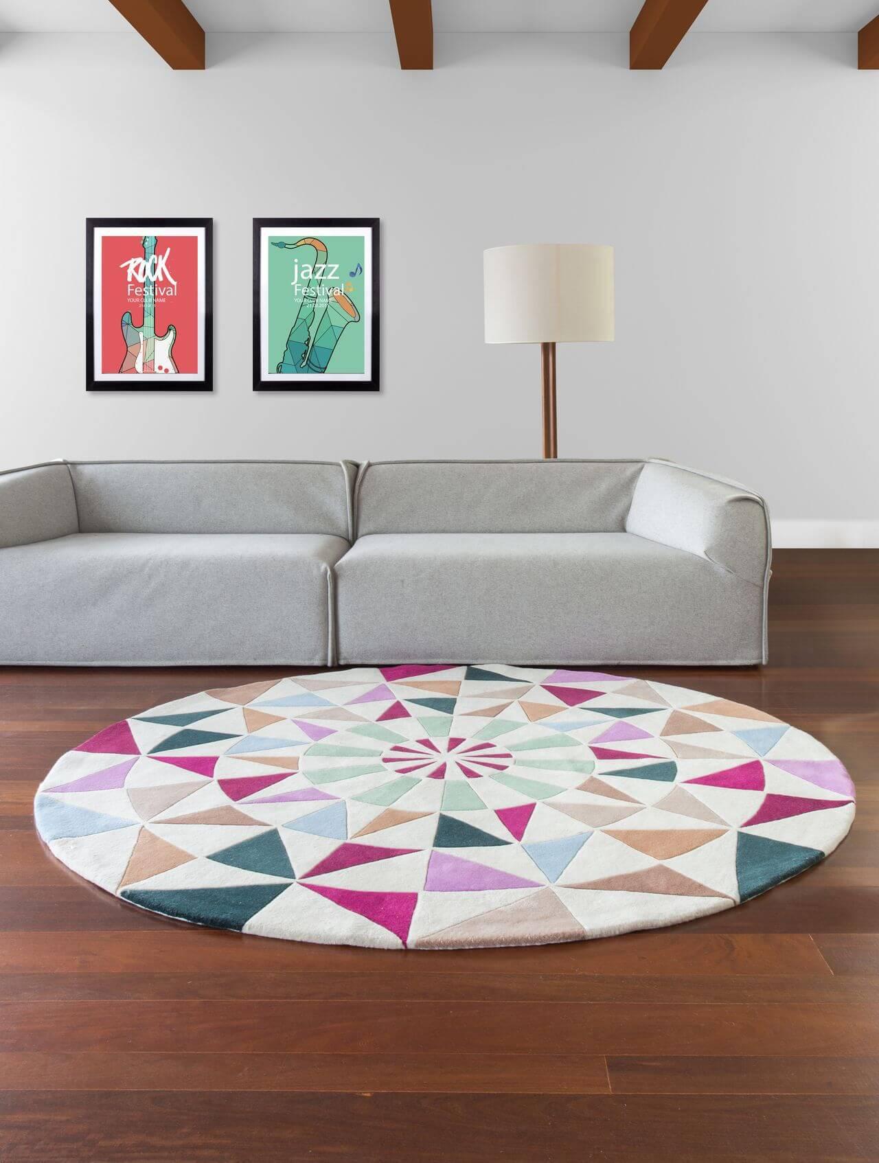 Tapetes para sala redondo em ambiente minimalista Projeto de By Kami