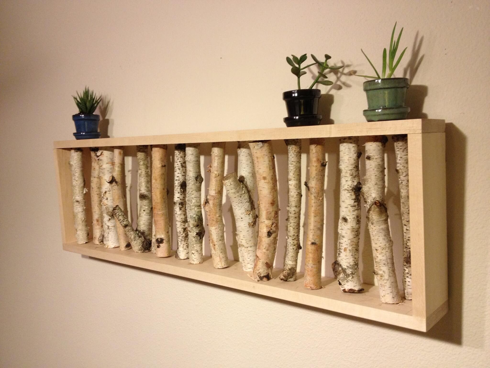 artesanato em madeira nicho com pequenos galhos