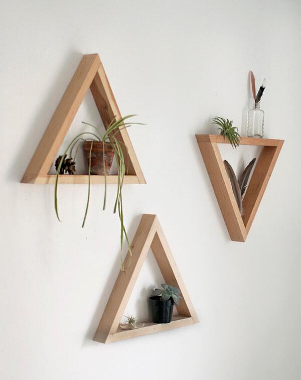 artesanato em madeira nichos triangulares