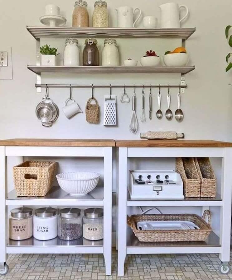 prateleira de inox para cozinha simples Foto Webcomunica