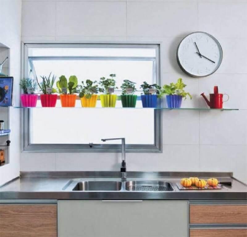 prateleira de vidro para pia de cozinha Foto Pinterest