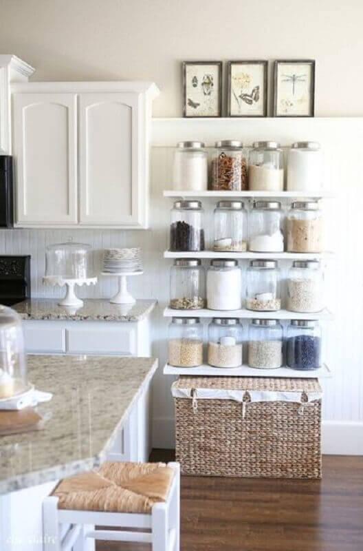 prateleira para cozinha pequena toda branca Foto Home Sweet