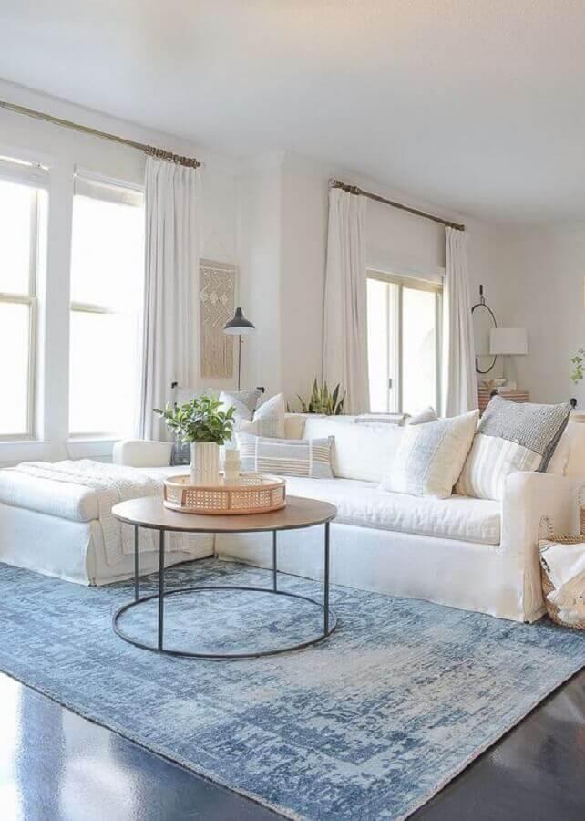 tapete para sala com decoração clean Foto Pinterest
