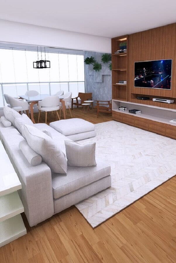 tapete para sala com sofá branco Foto Pinterest