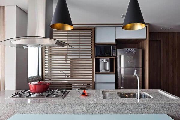 Pia de cozinha feita em pedra