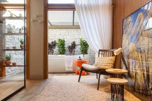 Banheiro com teto solar Projeto de Casa Cor Franca 17