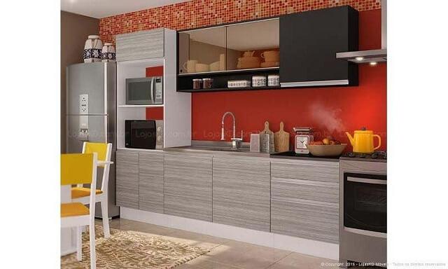 Cozinha modulada cinza e preta Projeto de Lojas KD