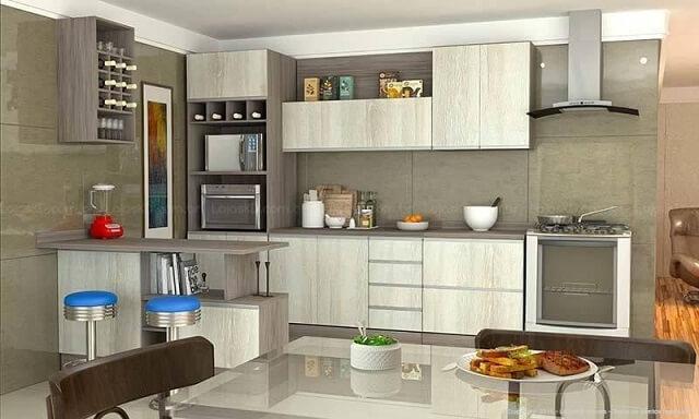Cozinha modulada com adega Projeto de Lojas KD1