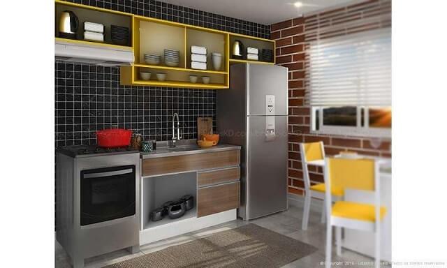 Cozinha modulada com armário aéreo amarelo Projeto de Lojas KD