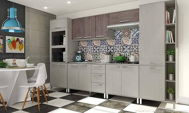 Cozinha modulada com armário cinza e de madeira Projeto de Lojas KD