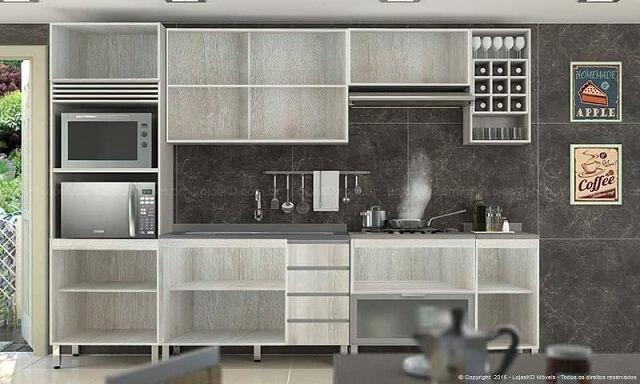Cozinha modulada com armário dem portas Projeto de Lojas KD